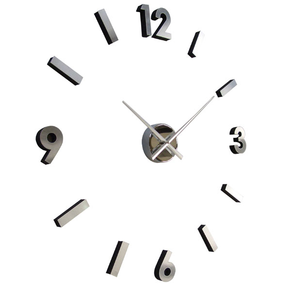 Adhesive Numbers Metal Wall Clock