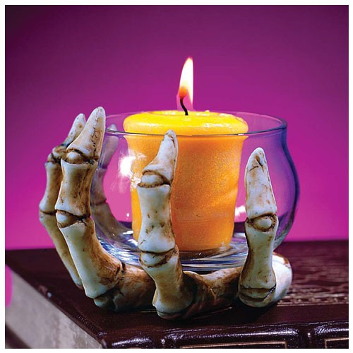 Skeleton Hand with Glass Votive Prop
