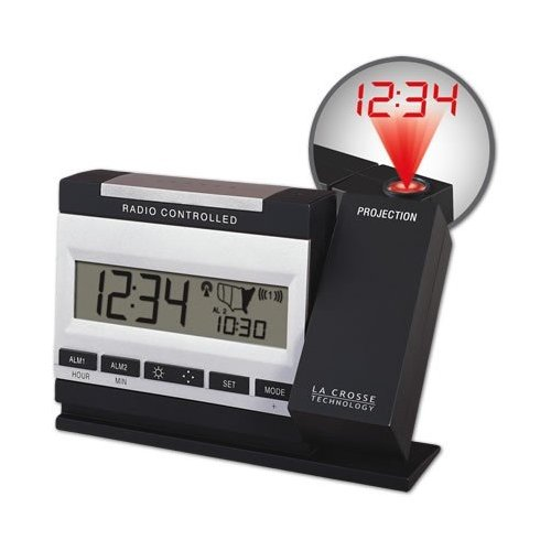 atomic projection alarm clock L acrosse technology projection alarm clock w/ remote temp, moon phase &  sound activated backlight-new atomic projection clock from lacrosse.