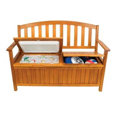wood storage bench and beverage cooler. Black Bedroom Furniture Sets. Home Design Ideas