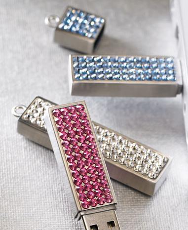 Rhinestone-embellished USB flash drives