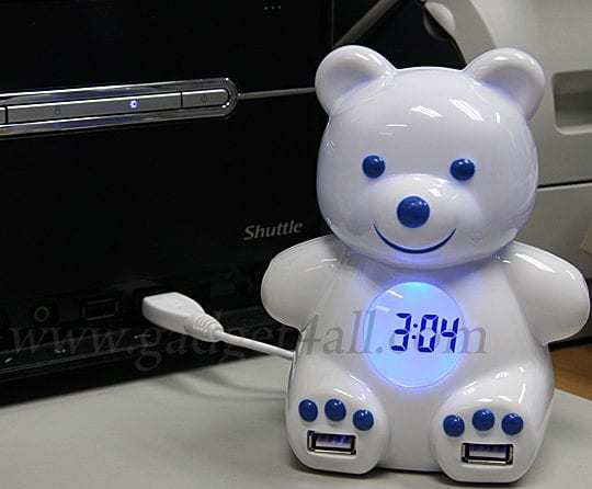 Bear USB 4-Port Hub + Alarm Clock