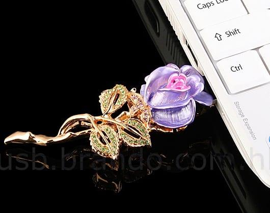 USB Jewel Rose Brooch Flash Drive