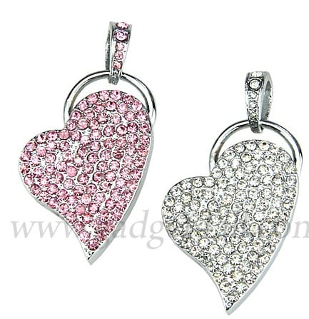 Jewel Heart Necklace USB Flash Drive