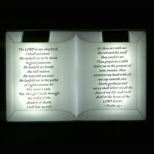Solar-powered 23rd Psalm display