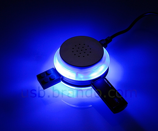 USB Illuminated Speaker with 3-Port Hub