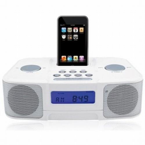 Naxa NX3103 White Digital Alarm Clock AM FM Radio iPod Docking Station