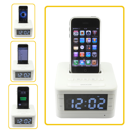 ipod iphone stereo speaker docking station with alarm clock. Black Bedroom Furniture Sets. Home Design Ideas