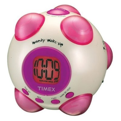 Timex Vibrating Alarm Clock With Wacky Phrases – White & Pink