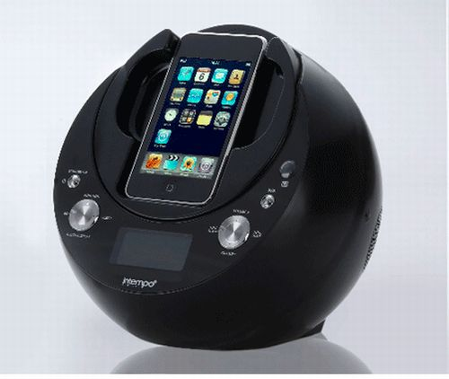 intempo phono iphone speaker and radio with alarm clock and rotating dock. Black Bedroom Furniture Sets. Home Design Ideas