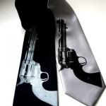 revolver gun screen printed necktie