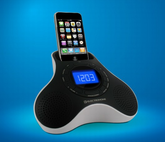 digital fm alarm clock radio speaker dock for ipod iphone. Black Bedroom Furniture Sets. Home Design Ideas