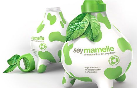 Cow-like packaging design for soy milk