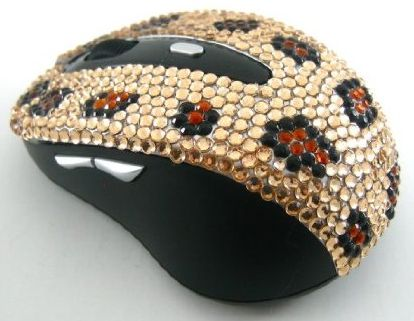 Gold Leopard Crystal Rhinestone Mouse