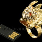 USB Jewel Rabbit Ring Flash Drive