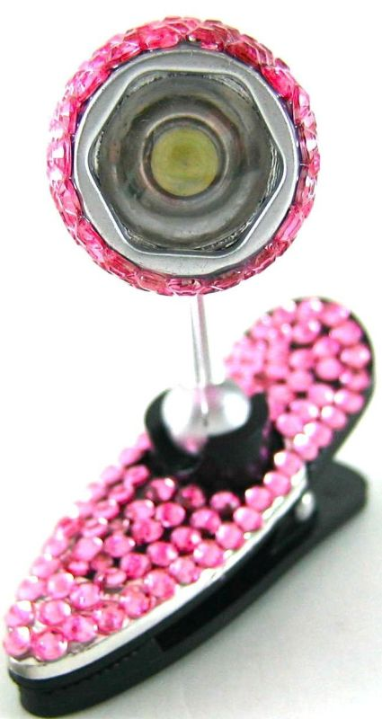 Pink Crystal Flexible 360 Degree Mini Clip-on LED Lamp Book Kindle Nook Reading Light