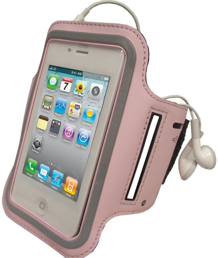 iGadgitz Pink Reflective Anti-Slip Neoprene Sports Gym Jogging Armband for Apple iPhone 4