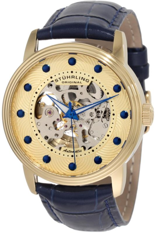 Stuhrling Original Men's 107D.3335C31 Delphi Helios Automatic Skeletonized Gold Dial Watch
