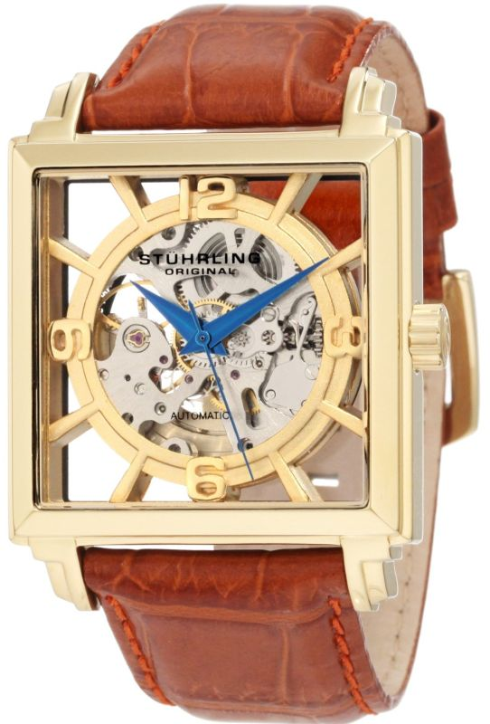 Stuhrling Original Men's 333.3335K31 Lifestyles Winchester Plaza Automatic Skeleton Brown Watch