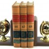 Gold Plated Brass & Oak New Century Globe Bookends