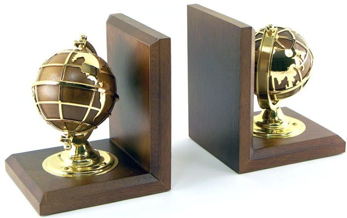 Gold Plated Brass & Oak New Century Globe Bookends