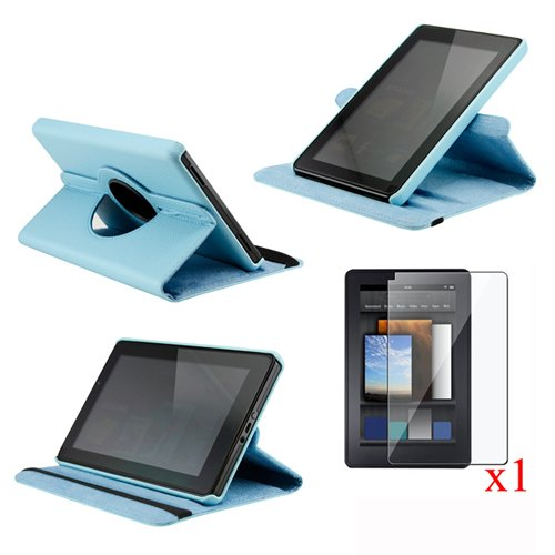 Light Blue 360 Degree Rotating Leather Case Cover