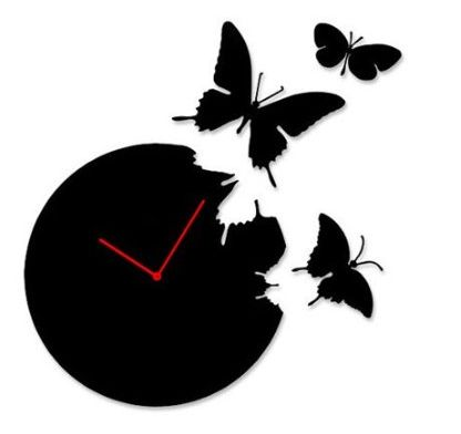 Butterfly Time Fly Wall Clock DIY Art Home Decor Black / Red / White