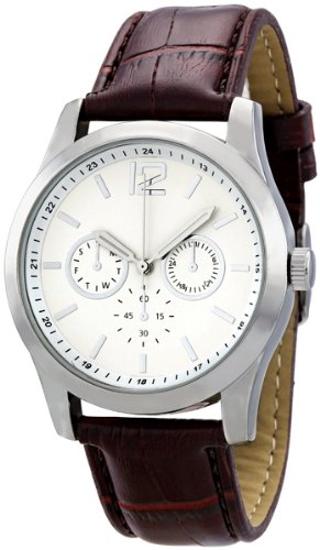 White Dial Faux Brown Crocodile Leather Mens Watch
