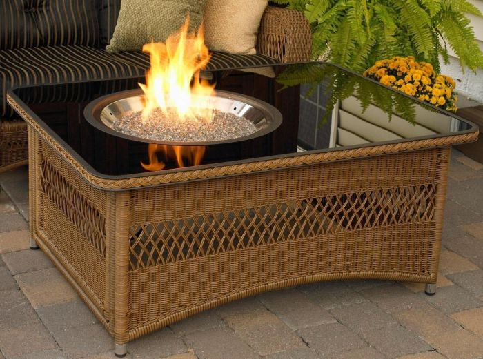 Resin Wicker Fire Pit Table in Saddle