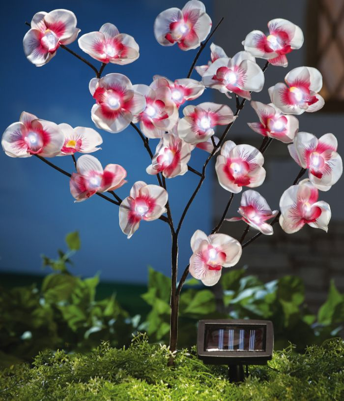 Solar Fiber Optic Orchid Branches Garden Stake