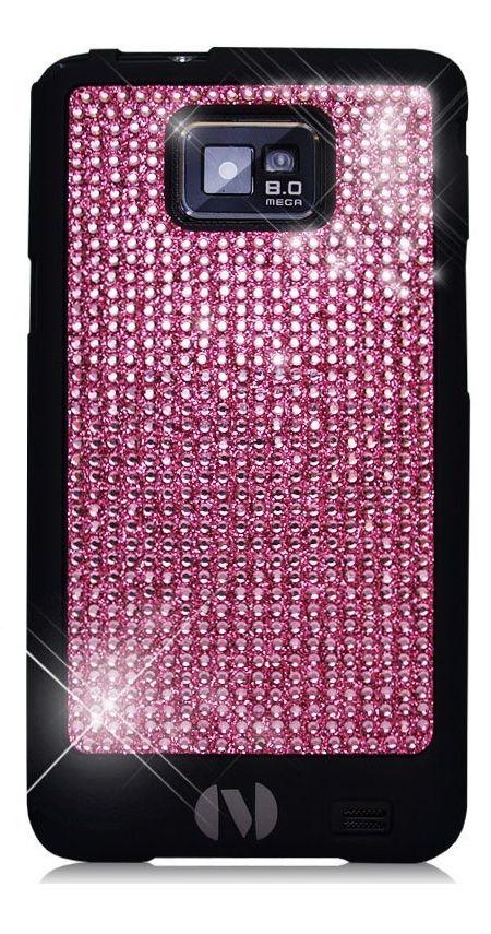Samsung Galaxy S 2 II i9100 Novoskins Pink Crystal Chic Black Luxe Hard Case