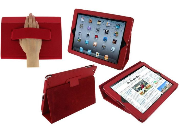 Red) Case Cover with Elastic Hand Strap and Stand for Apple iPad 2 / iPad 3