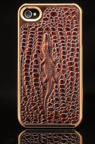 iPhone 4 4S Brown Leather Pattern Back 3D Case