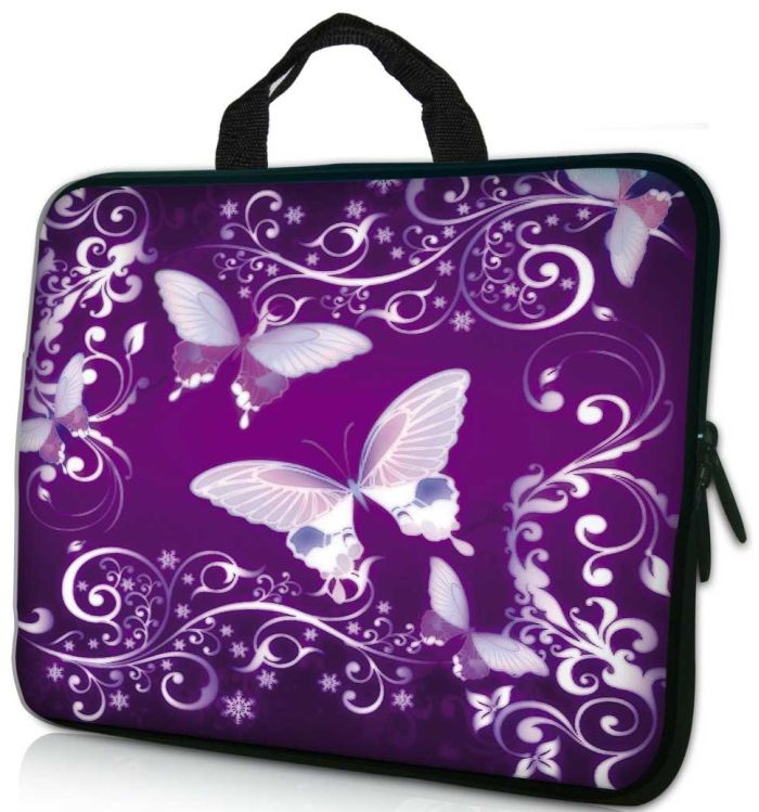 "17.3"" Purple Butterfly Laptop / Macbook Sleeve Case Bag"