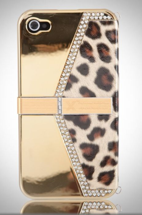 Gold Bling Leopard Purse w Stand Textured case cover for Apple iPhone 4