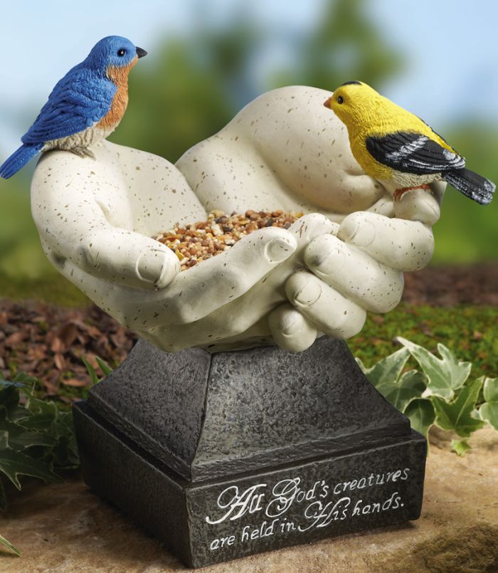 Hands Birdfeeder Statue
