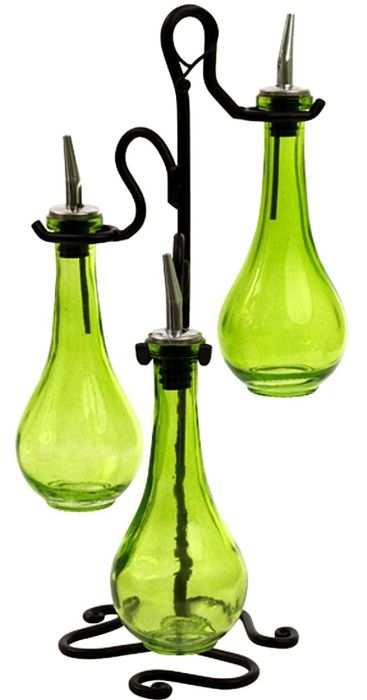 Roman Olive Oil &Vinegar Kitchen Liquid Dispenser Glass Bottles