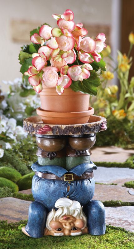 Stuck Gnome Garden Planter Stand Figurine