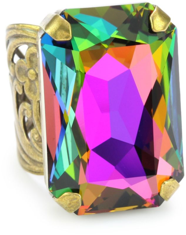 """Aurora Sky"" Multi-Crystal Large Cocktail Adjustable Ring"