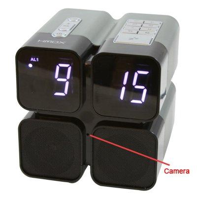 Quad Alarm Clock Radio SD Card Hidden Camera