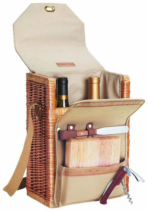"Picnic Time Corsica 13"" H Willow 2-Bottle Wine"