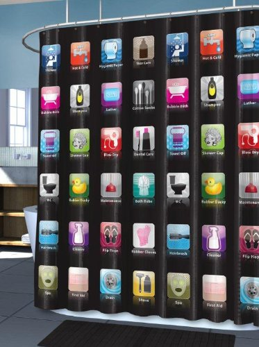 Iphone Shower Curtain Ibath Black With Iphone Apps