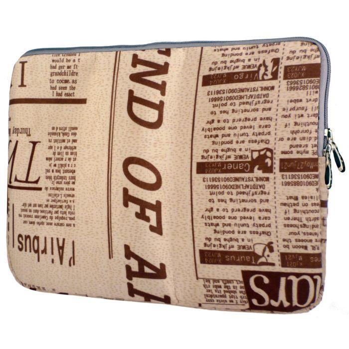 Newspaper Pattern Dual Zippers Tablet Notebook Laptop Sleeve Bag Carry Case