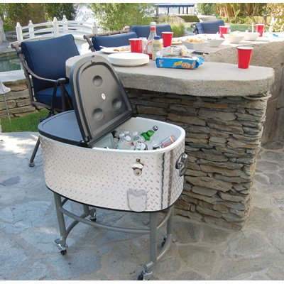 Diamond Plate Rolling Party Cooler