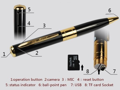 Golden Mini DVR Video Pen with 2GB Micro SD Card and Card Adapter