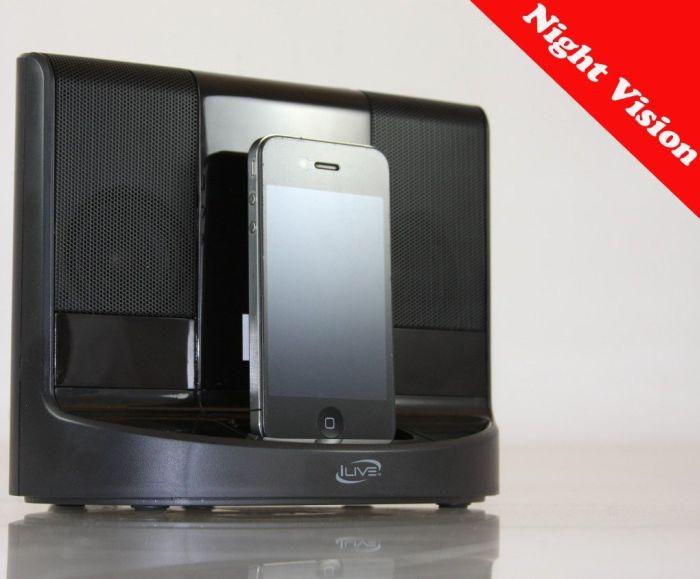 Night Vision iPhone & iPod Portable Speaker Dock Hidden Spy Camera