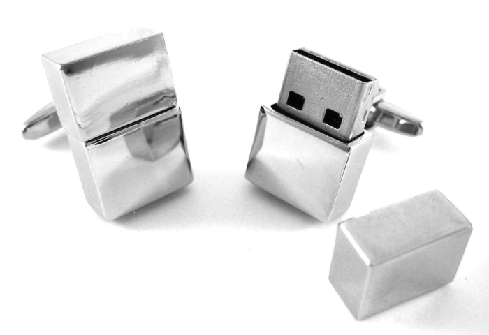Silver 4GB USB Memory Stick Flash Drive Cufflinks