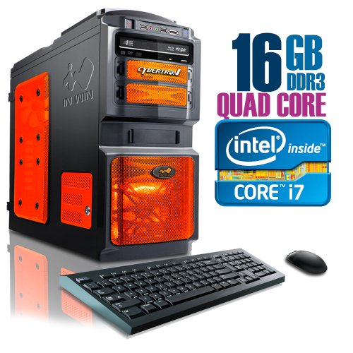 CybertronPC X-15 2141DBOS, Intel Core i7 Gaming PC, W7 Professional, CrossFireX, Black/Orange