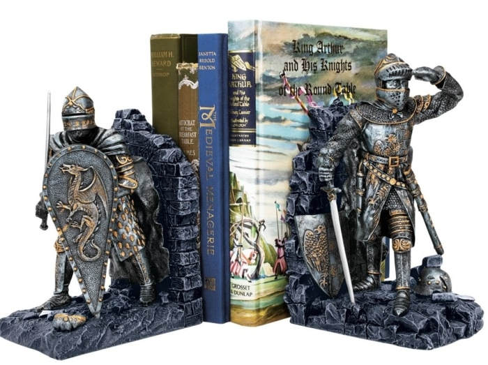 Arthurian Knight Bookend in Two-Tone Metallic