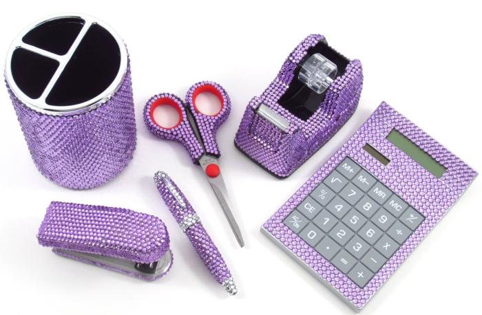 6 Piece Purple Crystal Office Supply Set
